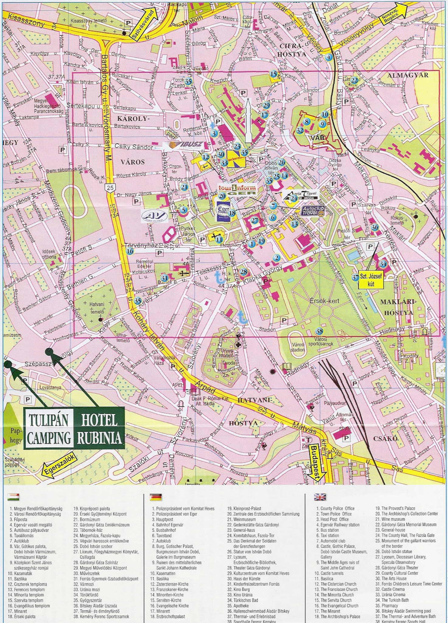 eger térkép látnivalókkal Contact us Tulipán Kemping eger térkép látnivalókkal